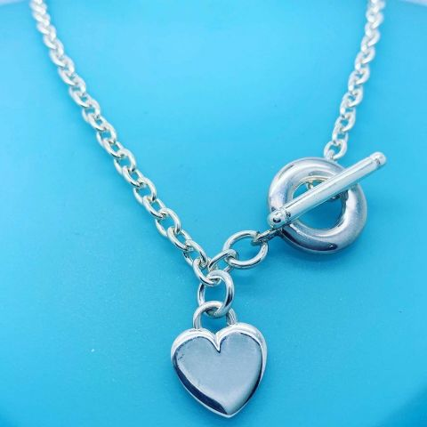 "Hallmarked 925 Sterling Silver 18"" Chain With T Bar+Heart Fitting (Tif Style)"